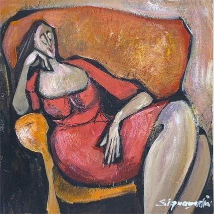 Bernard Signamarcheix Femme à la robe rouge 19 x 19 cm