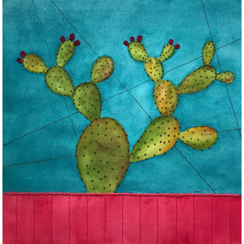 Nopal over pink and blue