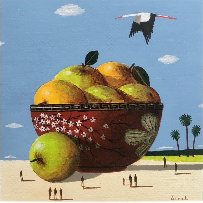 Céramique rouge et pommes
