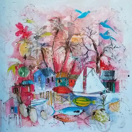Cécile Colombo Les trois colibris 80 x 80 cm