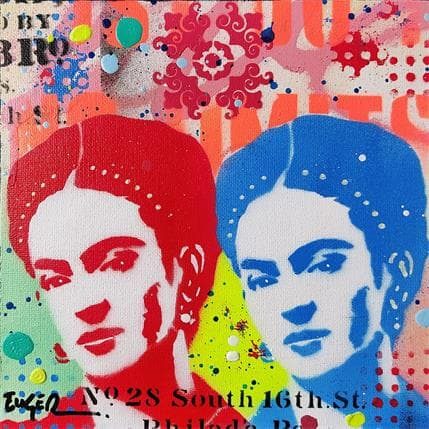Euger Philippe Frida Kahlo pop red and blue 19 x 19 cm