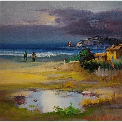 Jose Cabello Ruiz Atardecer en la playa 13 x 13 cm