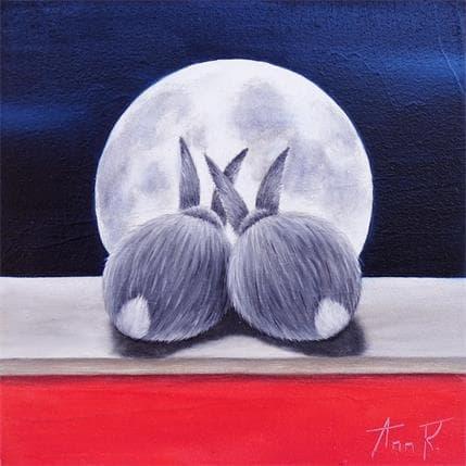 Ann R AMOUREUX AU CLAIR DE LUNE 13 x 13 cm