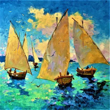 Tatiana Jmara marinos y gaviotas... de pesca 80 x 80 cm