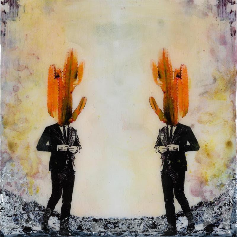 Los dos cactus en naranja