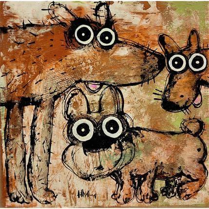 Hervé Maury Trois chiens 36 x 36 cm