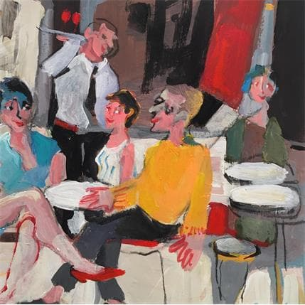 Christine Doucedame Pull jaune en terrasse 19 x 19 cm
