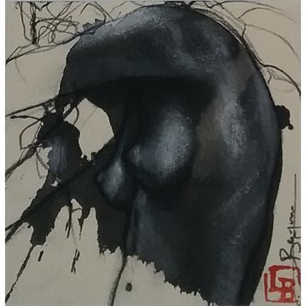 Laurent Bergues Sculpture sur tâche Femme cachée 13 x 13 cm