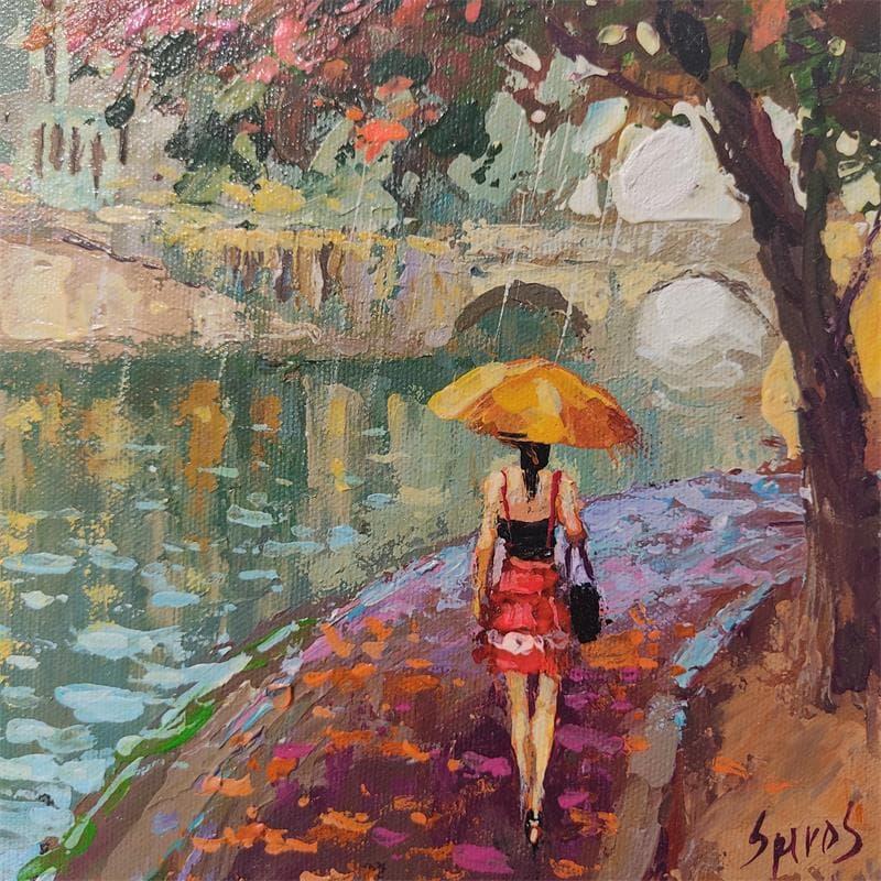 Seine river. rainy day