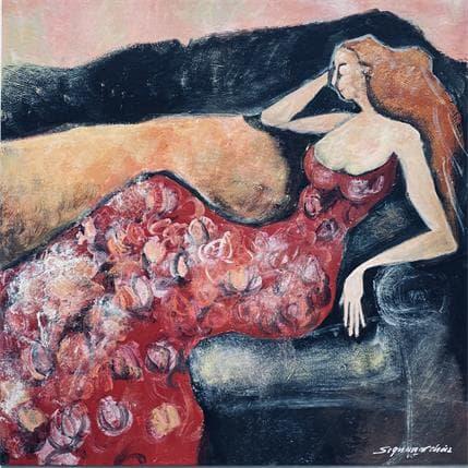 Bernard Signamarcheix Femme sur canapé 36 x 36 cm