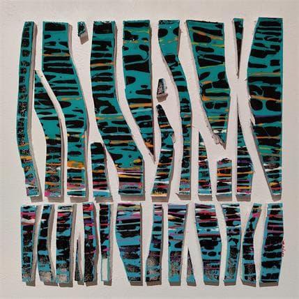 Luc Langeron BC26 impression bleu vert 36 x 36 cm