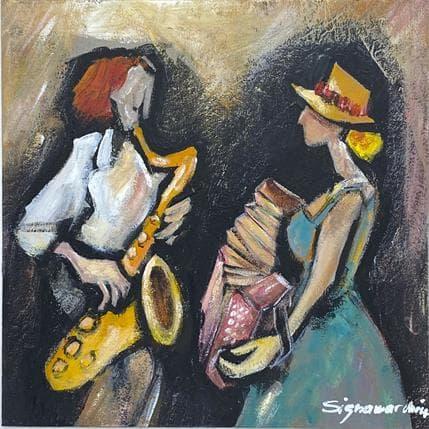Bernard Signamarcheix Sax et bandonéon 19 x 19 cm