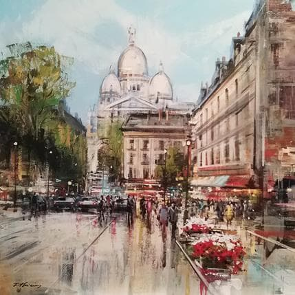 Frédéric Thiéry Balade à Montmartre 80 x 80 cm