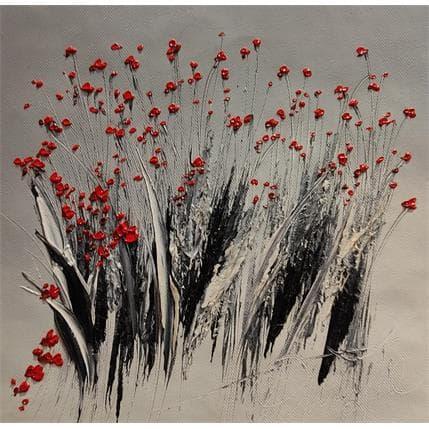David Fonteyne HERBES NOIRS FLEURS ROUGE 25 x 25 cm