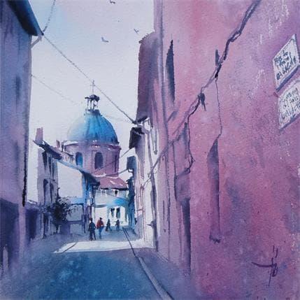 Abbatucci Violaine La ville rose...en bleue 25 x 25 cm
