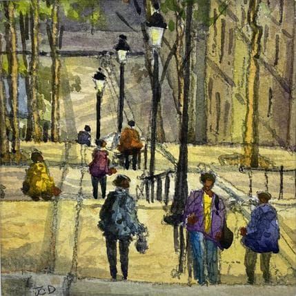 Jean-Charles Decoudun Montmartre-les escaliers 13 x 13 cm