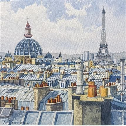 Jean-Charles Decoudun Paris, les toits 36 x 36 cm
