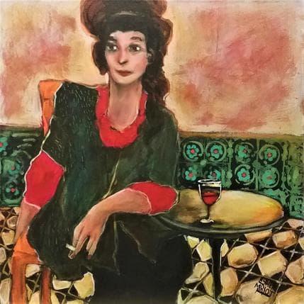 Esther Marlot Femme au café 50 x 50 cm