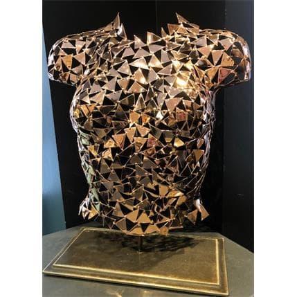 Frédéric Fortuné Cyrène (buste en cuivre poli, vernis sur socle acier) 44 x 18 x 54 cm