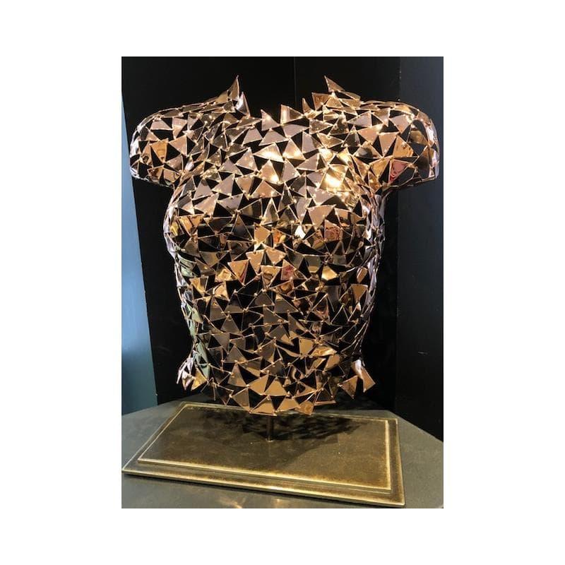 Cyrène (buste en cuivre poli, vernis sur socle acier)