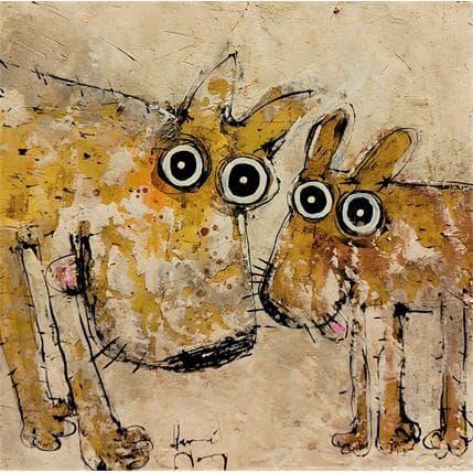 Hervé Maury Les deux chiens 36 x 36 cm