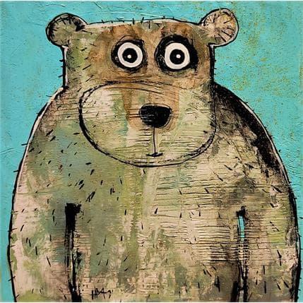 Hervé Maury L'ours bleu 36 x 36 cm