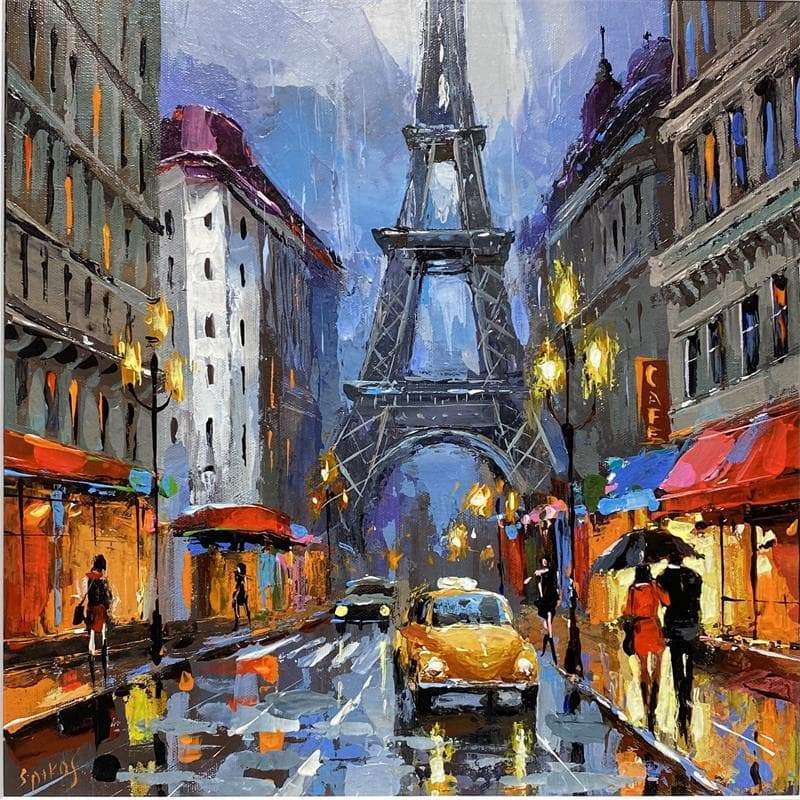 Rainy Parisian boulevard