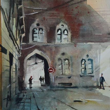 Violaine Abbatucci Il a rendez-vous sous le porche 19 x 19 cm