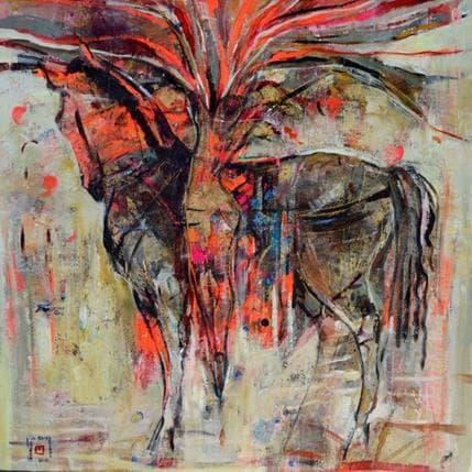 De Secondigné Elle et son cheval 80 x 80 cm