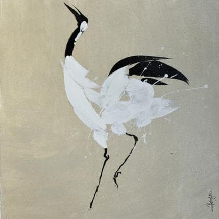 Laurent Bergues Japonese crane 1 36 x 36 cm