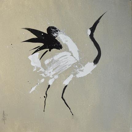 Laurent Bergues Japonese crane 2 36 x 36 cm