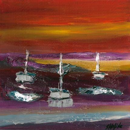 Shahine Coucher de soleil sur les voiliers 25 x 25 cm