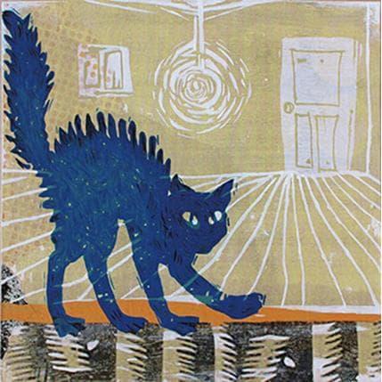 Kano Okuuchi Chat bleu 19 x 19 cm