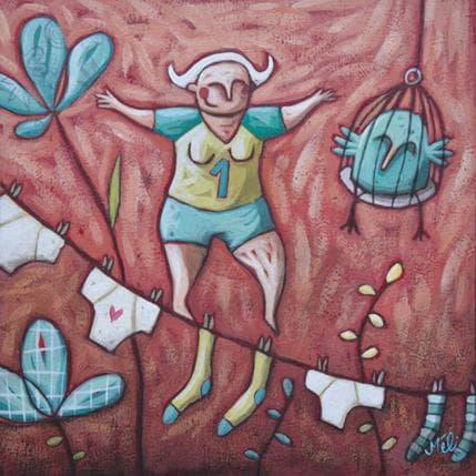 Mélina Catoni Sur la corde 19 x 19 cm