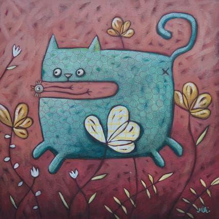 Mélina Catoni Blue cat 36 x 36 cm