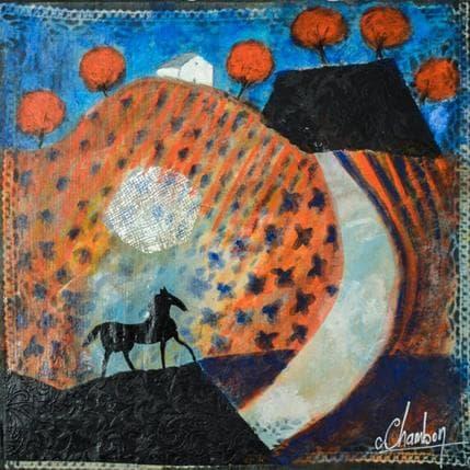 Michel Chambon Cheval noir des Alpilles 36 x 36 cm