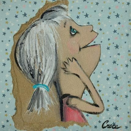 Croce La tête dans les étoiles 13 x 13 cm