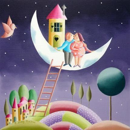 Elisabeth Davy - Bouttier Ma maison sur la lune 25 x 25 cm