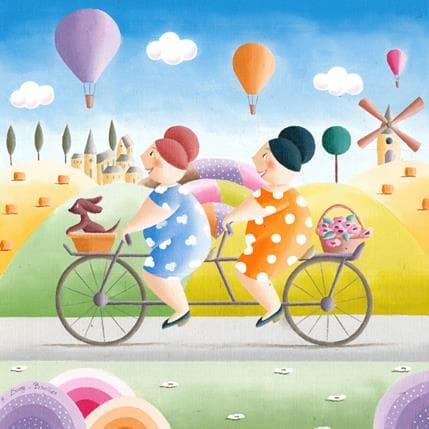 Elisabeth Davy - Bouttier Duo à bicyclette 36 x 36 cm
