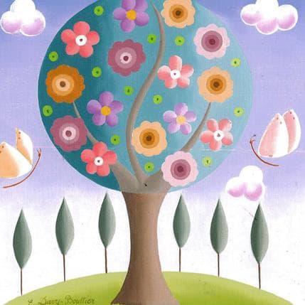 Elisabeth Davy - Bouttier Fleurs et papillons 19 x 19 cm