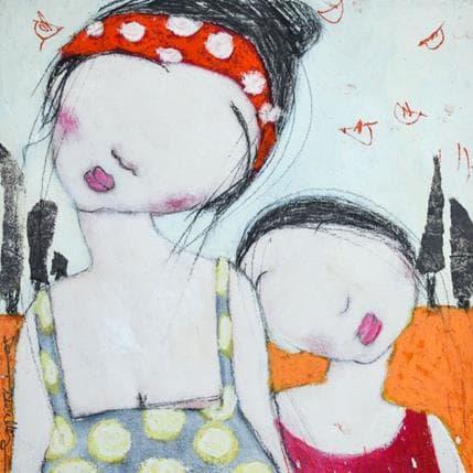 Dom Dewalles Mère et fille au bord de l'eau 25 x 25 cm