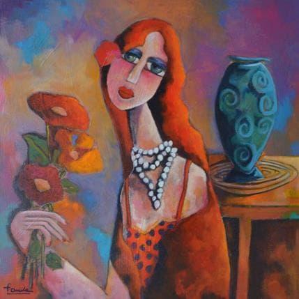 Fauve Femme au vase bleu 50 x 50 cm