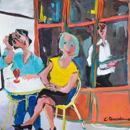 Christine Doucedame Bon moment en terrasse 25 x 25 cm