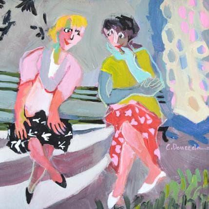 Christine Doucedame Sur le banc 25 x 25 cm