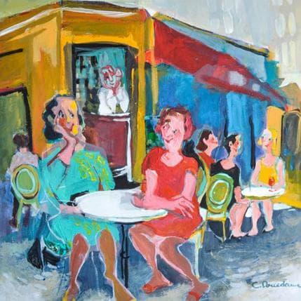 Christine Doucedame Filles en terrasse 36 x 36 cm