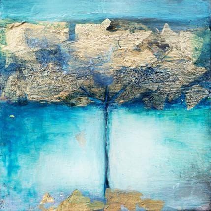 Ode Droit Arbre bleu or 13 x 13 cm