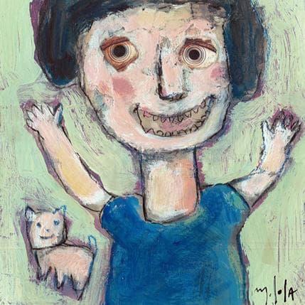 Miguel De Sousa La petite fille et son chat 13 x 13 cm