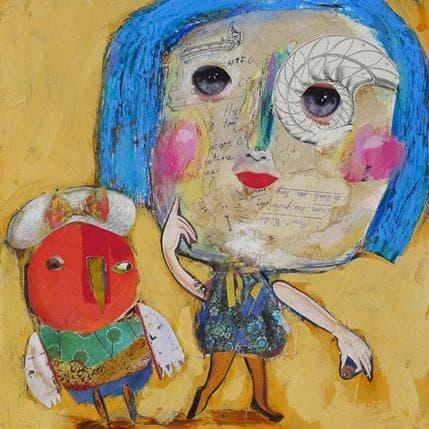 Miguel De Sousa La petite fille et l'oiseau 25 x 25 cm