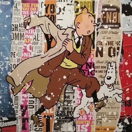 Franck Lamboley Tintin et Milou 80 x 80 cm