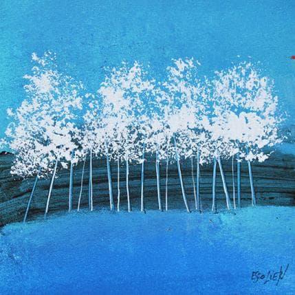 Odile Escolier Arbres sur fond bleu 13 x 13 cm